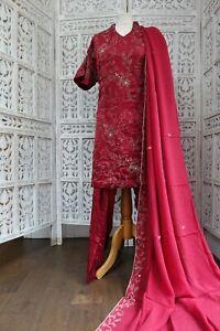 dark red silk Punjabi bollywood salwar kameez  UK Size 24 / EU 50 BN SKU17691