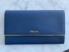 Authentic Prada Blue Saffiano Long Bifold Wallet/Clutch