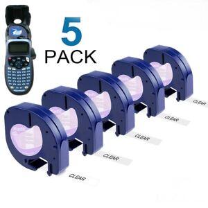 5PK Compatible Dymo LetraTag Refills 12267 Clear Plastic 12mm Label Tape LT-100H