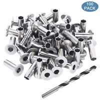 "100Pcs Stainless Steel Protective Protector Sleeve for 1/8"" Cable Railing Kit"