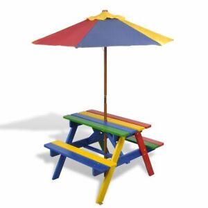 vidaXL Kinder Picknicktisch Sonnenschirm Picknick Set Gartenmöbel Bank Tisch AL