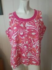 Women's Ann Trinity Sleeveless Top Size Large Paisley Multi Color Beaded Cotton