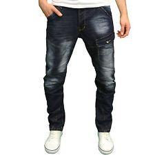 Crosshatch Mens DESIGNER Branded Twisted Leg Tapered Fit Jeans Darkwash 34w 32l