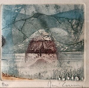 "RENE CARCAN Etching Engraving Aquatint BELGIAN Abstract MCM Modernist ""La Meuse"""