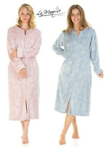 Ladies La Marquise Zip Front SUPPER Soft Embossed Fleece Dressing Gown pink Blue