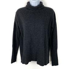 AUTUMN CASHMERE 100% Cashmere XS Charcoal Mock Turtleneck Long Sleeve Sweater
