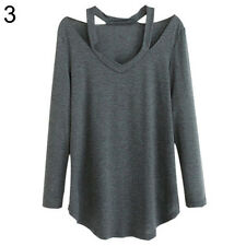 Women V-neck Plus Size Tops Loose Long Sleeve T-Shirt Casual Blouse Fashion