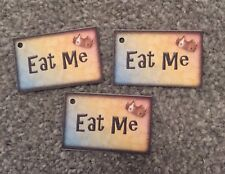 12 Eat Me Tags - Mad Hatters Tea party wedding/birthday decorations