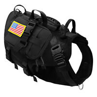 Tactical Military K9 Dog Harness POLICE MOLLE Training Vest With Pouches PITBULL