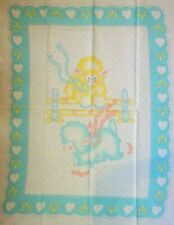 VINTAGE LAMBS AT PLAY BABY QUILT TOP COTTON FABRIC PANEL