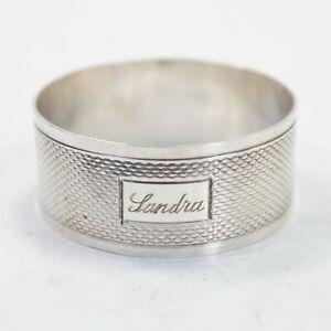 Art Deco silver napkin ring serviette .925 sterling Birmingham 1944 Sandra #47