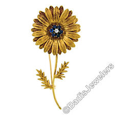 Vintage Tiffany & Co. 18k Yellow Gold Diamond & Sapphire Sunflower Brooch Pin