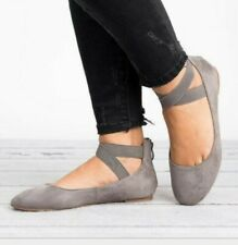 Ladies Ankle Strap Ballerina Womens Ballet Flats Court Pumps Summer Shoes Size