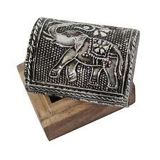 IDEA regalo, decorazione Elefante Legno di Mango a cupola mini box, gioielli o Bigiotteria