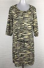 MAISON SCOTCH Dress Size 2 Animal Print Shift Beige Yellow 3/4 Sleeves