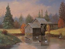 Mill Pond Water Wheel With Ducks Animals Open Edition Landscape Art Print 12x16
