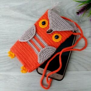 Handmade Crochet Phone Case Owl Knitted Iphone Case Baby Stocking Stuffers Kids