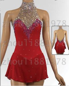 Competition Figure Skating Dress Girls Ice Skating Dresses Custom Spandex red