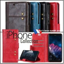 Etui coque housse Rivet Cuir PU Leather Stand Wallet Case iPhone Ranges (all)