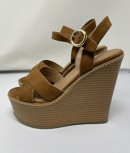 Asos Brown Suede High Platform Strappy Wedge Sandals, Size 4