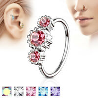1pc Three CZ Gem Hoop Nose / Cartilage Ring Rook Daith Helix Tragus