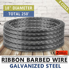 """Razor Barbed Wire 18"""" 5 Coils 250' Coverage Unique Economical Border Posts"""