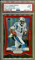 Cam Newton 2012 Panini Prizm Red Prizm Die-Cut 1st Year Rookie Card #26 PSA 9