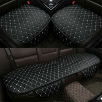 3X Black+White PU Leather Auto Car Interior Front & Rear Seat Cover Cushion Mat