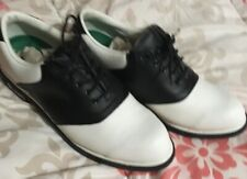 MACGREGOR Size 9 Mens 2978 Black And White Saddle Cleats Lace Up Golf Shoes
