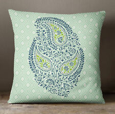 S4Sassy Green Paisley Print Cushion Cover Throw Decorative Square Pillow Case