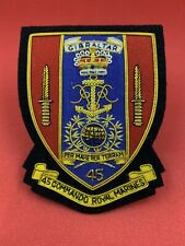 45 Commando Royal Marines blazer badge Handmade Bullion & Wire Badge (Gibraltar)