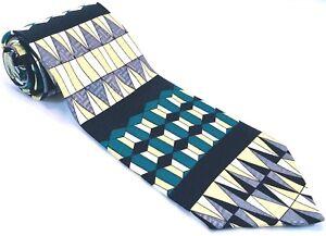 Daniel de Fasson Mens Tie Necktie 100% Silk Geometric Teal Black Gold Silver
