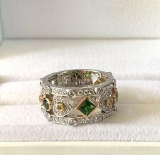 Designer Demeter 14K Gold Chrome Diopside and Diamond Ring Size 7