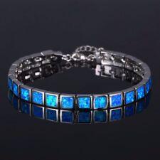 Armband Armkette Feueropal fire opal Stein blau feuer bracelet  Halbedelstein 51