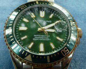 Stuhrling Original Depth Master Professional Diver Mens Watch Green Dial