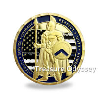 This is Sparta Blue Lives Matter Challenge Coin NYPD Police Dept Officers Gift