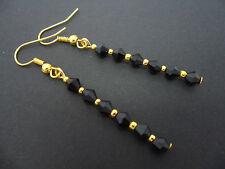 Un Par de Negro Cristal Perla de Cristal Chapado en Oro Pendientes. nuevo.