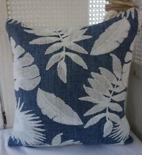 60cm Hamptons Blue & White Leaves Cotton Blend European Cushion Cover