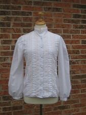 VTG 70s WHITE VICTORIAN TOP blouse LACE romantic HIPPIE boho SMALL