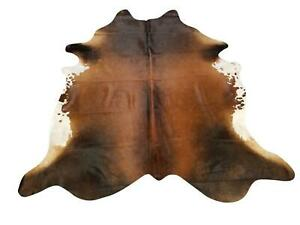 Tan And Black Genuine Brazilian Quality Cow Hide Area Rug Wall Hanging 6x8'