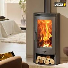 Curved Wood Burning Multi-fuel Stove Deltas 10kw Contemporary Burner