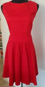 DRESS XS Blue Sand brand Italian Red Cotton cut out back with bow, flared skirt