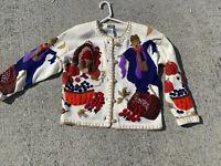 SALE @ DESIGNERS ORIGINALS Scarecrow Turkey Pumpkin Cardigan Sweater Sz M ❤️sj7m