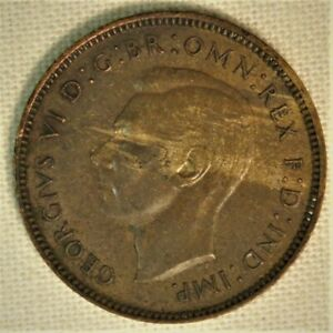 King George VI GREAT BRITAIN 1940-1 Farthing  Bronze Coin WWII mintage