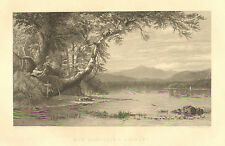 New Hampshire, Hunters, Lakeside, Landscape, Vintage, 1873 Antique Art Print,