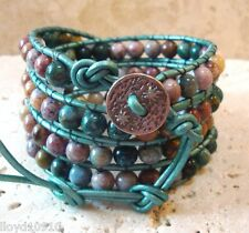 Ocean Jasper Handmade Beaded Leather 4X Wrap Bracelet