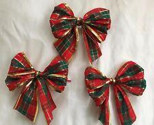 """3 X rosso/verde scuro 5"""" Tartan Cravatta con bordo d'oro in fiocchi fiocchi, regali, ALBERO NATALE"""