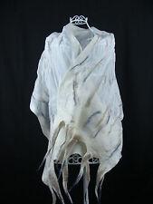 Nuno Felted Scarf, White Silk Shawl, Grey White Scarf, Unique Handmade, Bridal