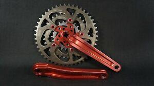 Vintage Kooka Red MTB crankset w/ REAL chainrings 175mm triple crank set. RARE