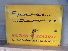"Original BRITISH SEAGULL outboard Motor SALES SERVICE enamel Sign 18"" by 13"""
